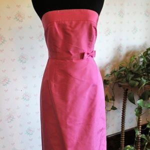 J. Crew Silk Strapless Dress Hot Pink 2P EUC
